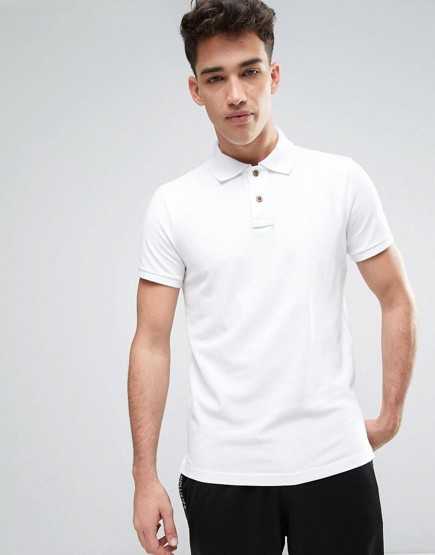Lyst hollister slim fit pique polo in white for men for White fitted polo shirts
