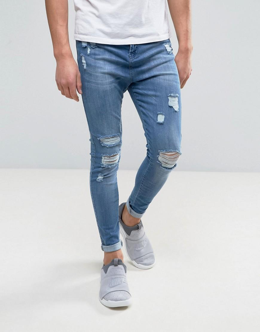 Good for nothing super skinny jeans in blue with for Zerissene jeans herren