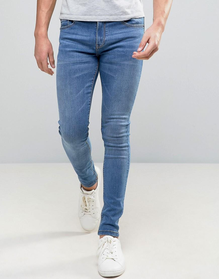 pull bear super skinny jeans in stone wash blue in blue. Black Bedroom Furniture Sets. Home Design Ideas