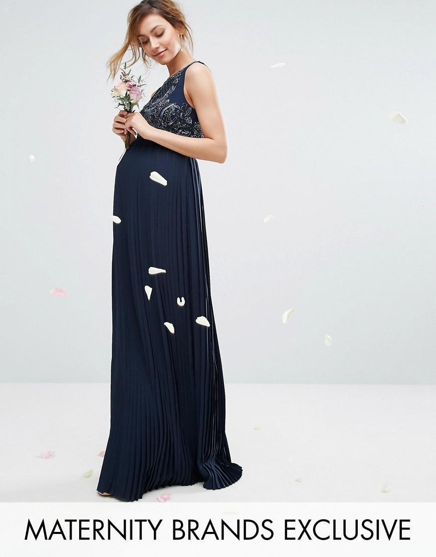 maternity embellished bodice maxi dress with pleated