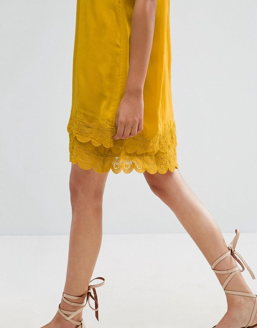 Vila Pleated Front Cami Dress With Crochet Trim in Yellow ...