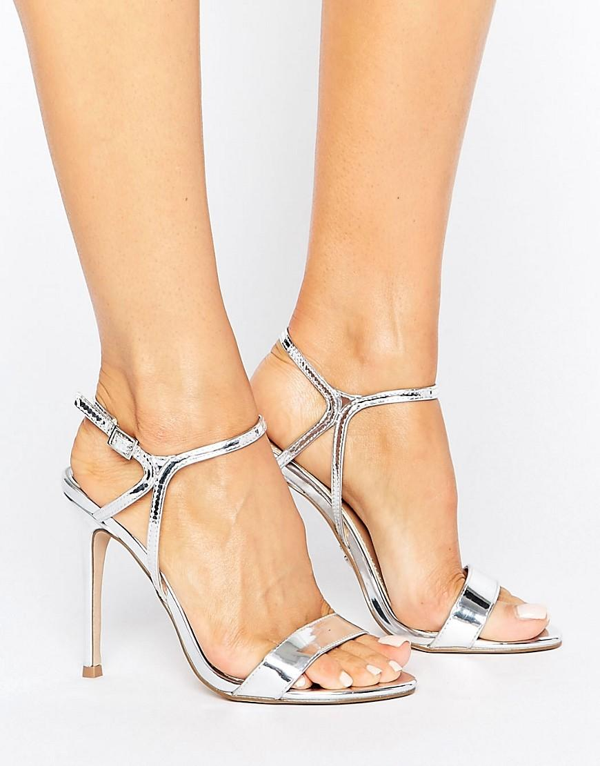 Lyst Lipsy Cross Front Barely There Shoes In Metallic