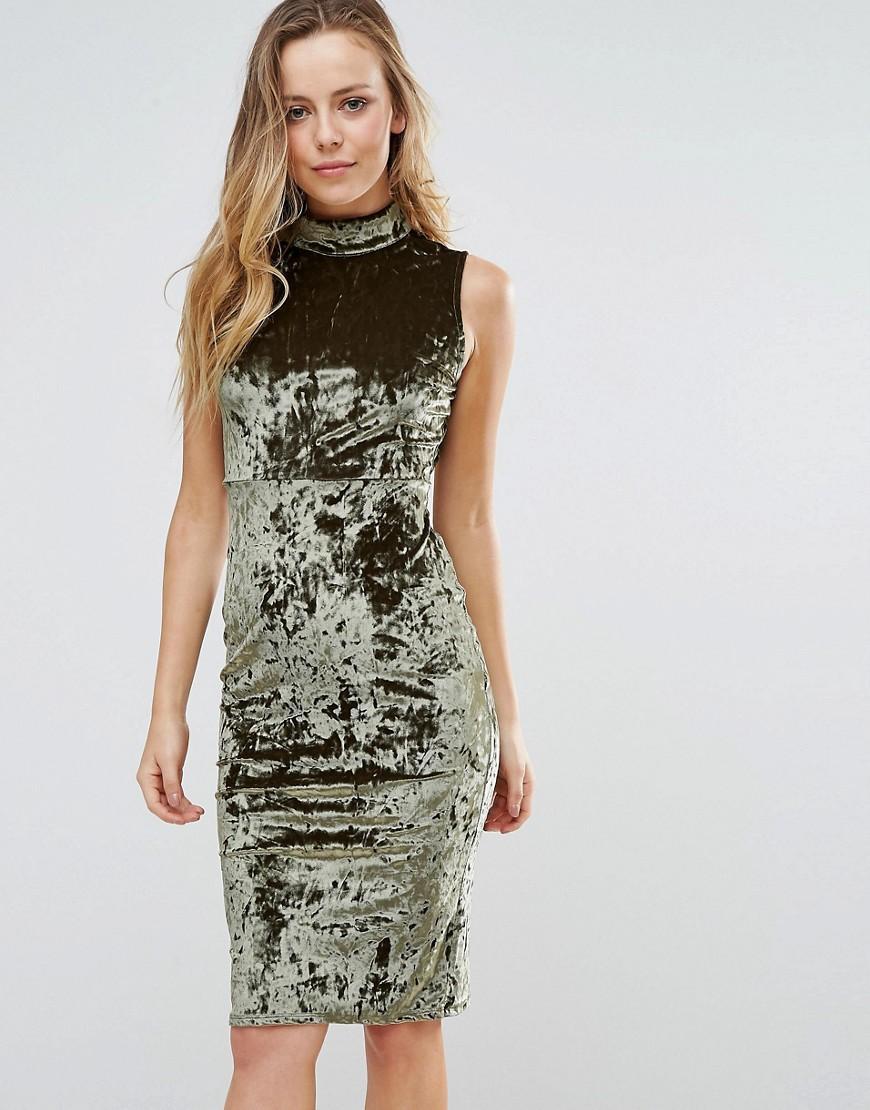 c290652c18 Lyst - Wal-G High Neck Velvet Bodycon Dress in Green