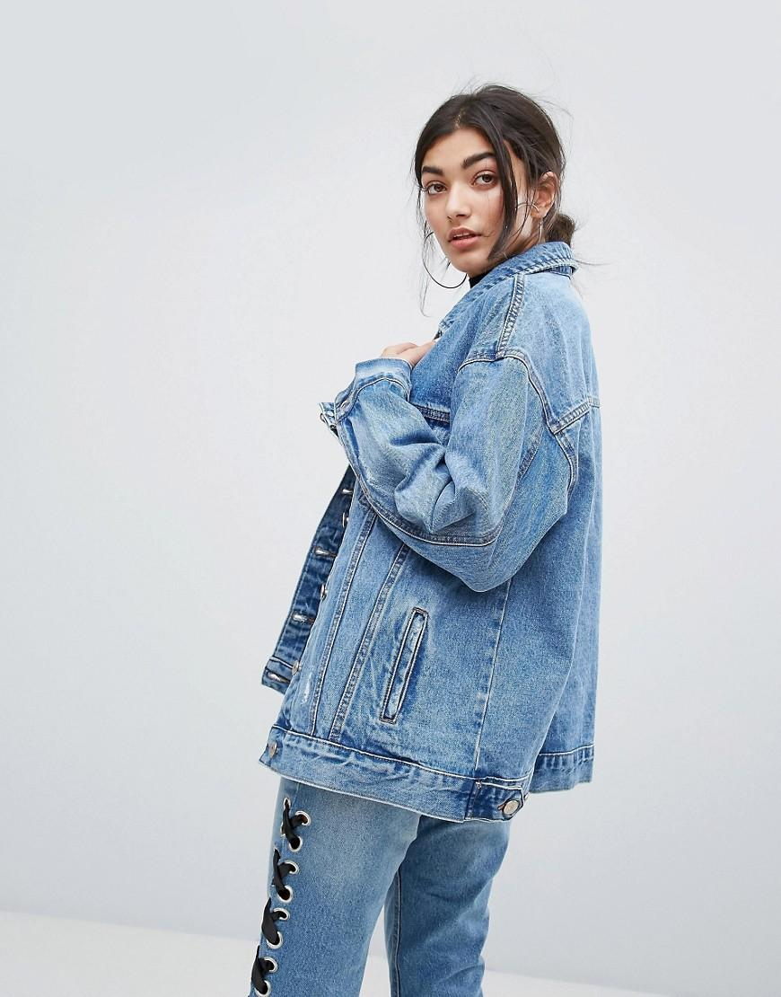 Lyst - Bershka Oversized Distressed Denim Jacket in Blue