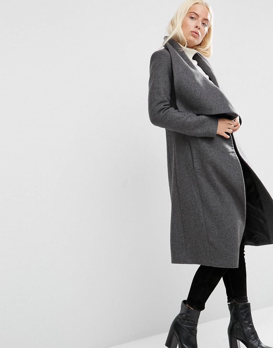 f7dd38cb0a1 Lyst - ASOS Waterfall Trapeze Coat In Wool Blend in Gray