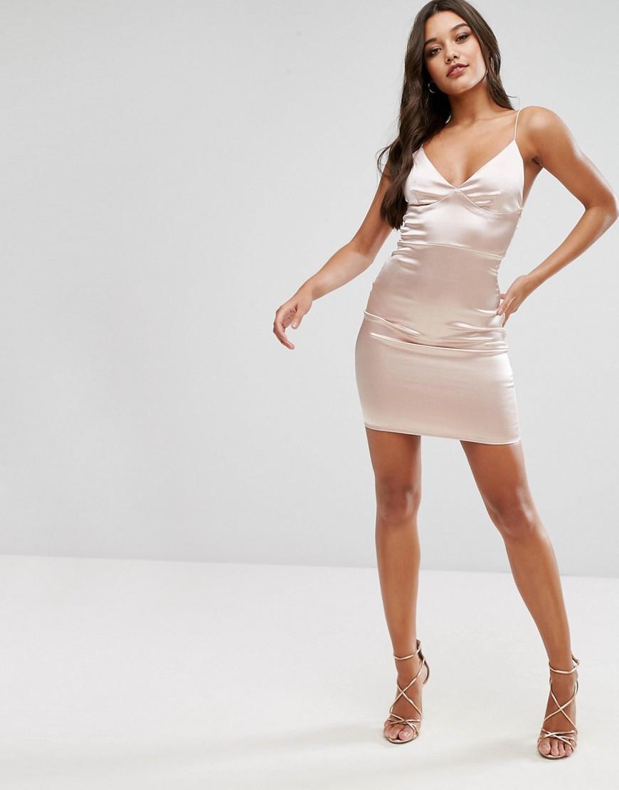 Club L Satin Cami Mini Dress In Pink Lyst