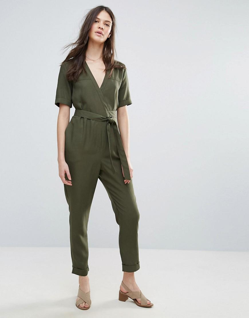 42a4cc64fb1 Lyst - French Connection Trooper Tencel Tie Waist Jumpsuit in Gray