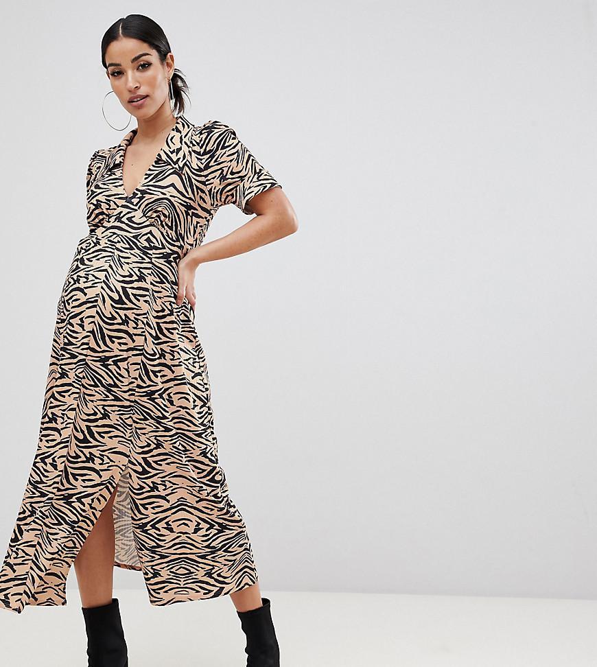 b40d22b751e92 Lyst - ASOS Asos Design Maternity Animal Print Midi Tea Dress In Rib