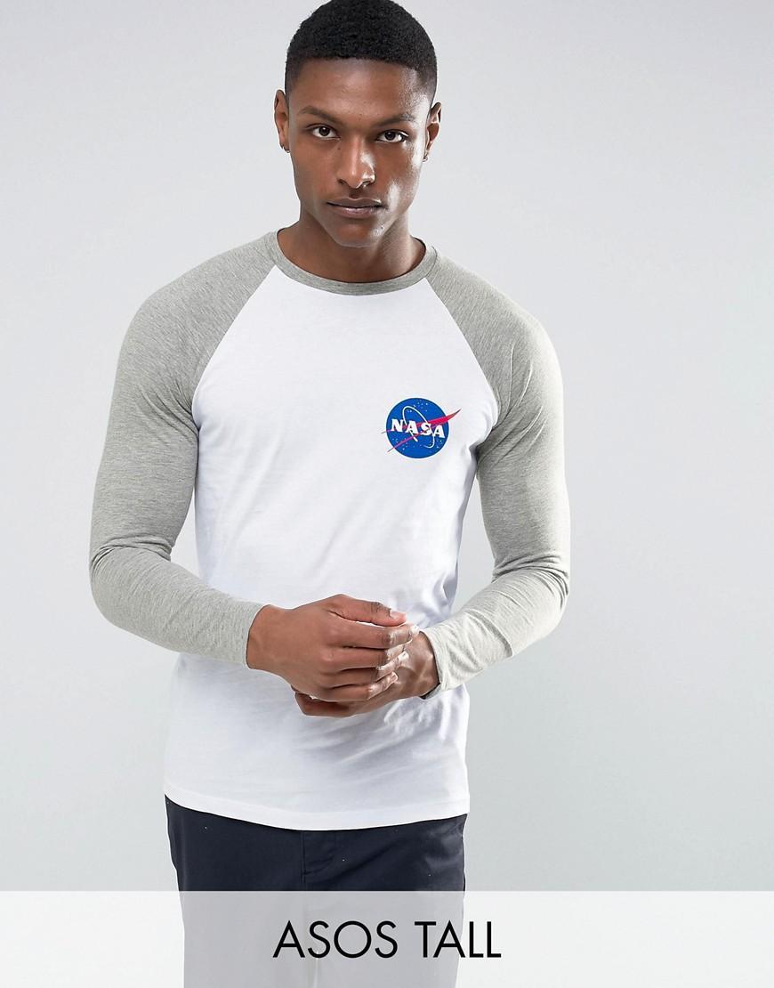 Asos tall nasa long sleeve raglan t shirt in black for men for Mens long sleeve t shirts tall
