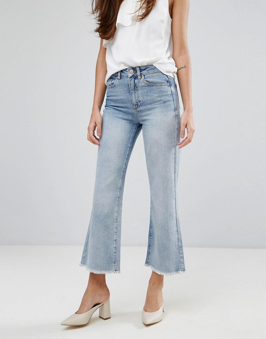 warehouse bleached cropped flare jeans in blue lyst. Black Bedroom Furniture Sets. Home Design Ideas