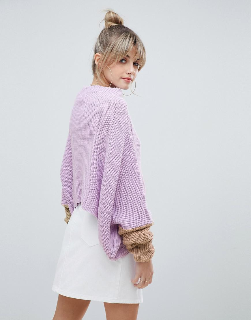 Lyst - PrettyLittleThing Oversized Color Block Sweater In Lilac in Purple a84e78f76