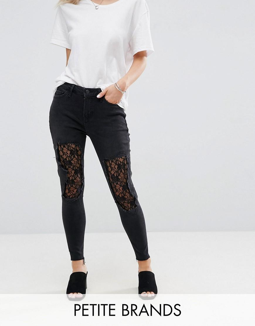 new look lace insert skinny jeans in black lyst. Black Bedroom Furniture Sets. Home Design Ideas