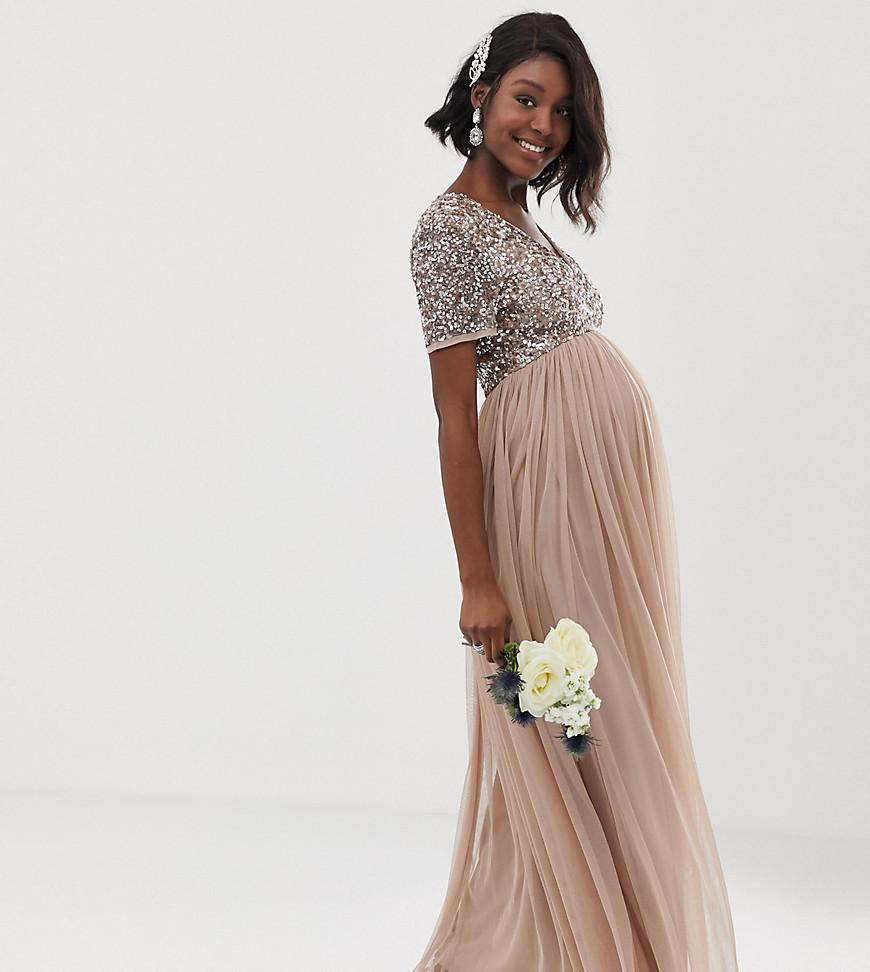 9a5671ef32c7 Maya Maternity. Women s Brown Bridesmaid V Neck Maxi Tulle Dress With Tonal  Delicate Sequins In Taupe Blush