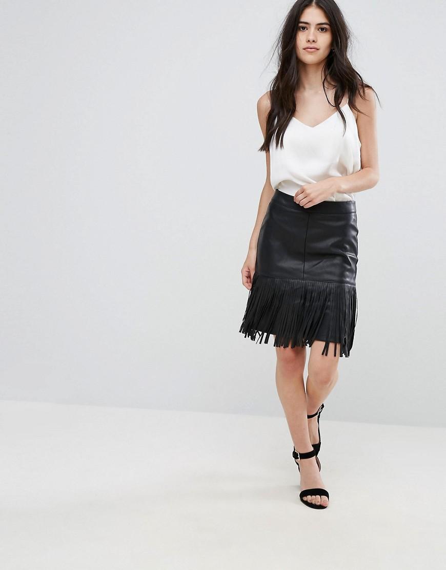 vila fringe faux leather skirt in black lyst