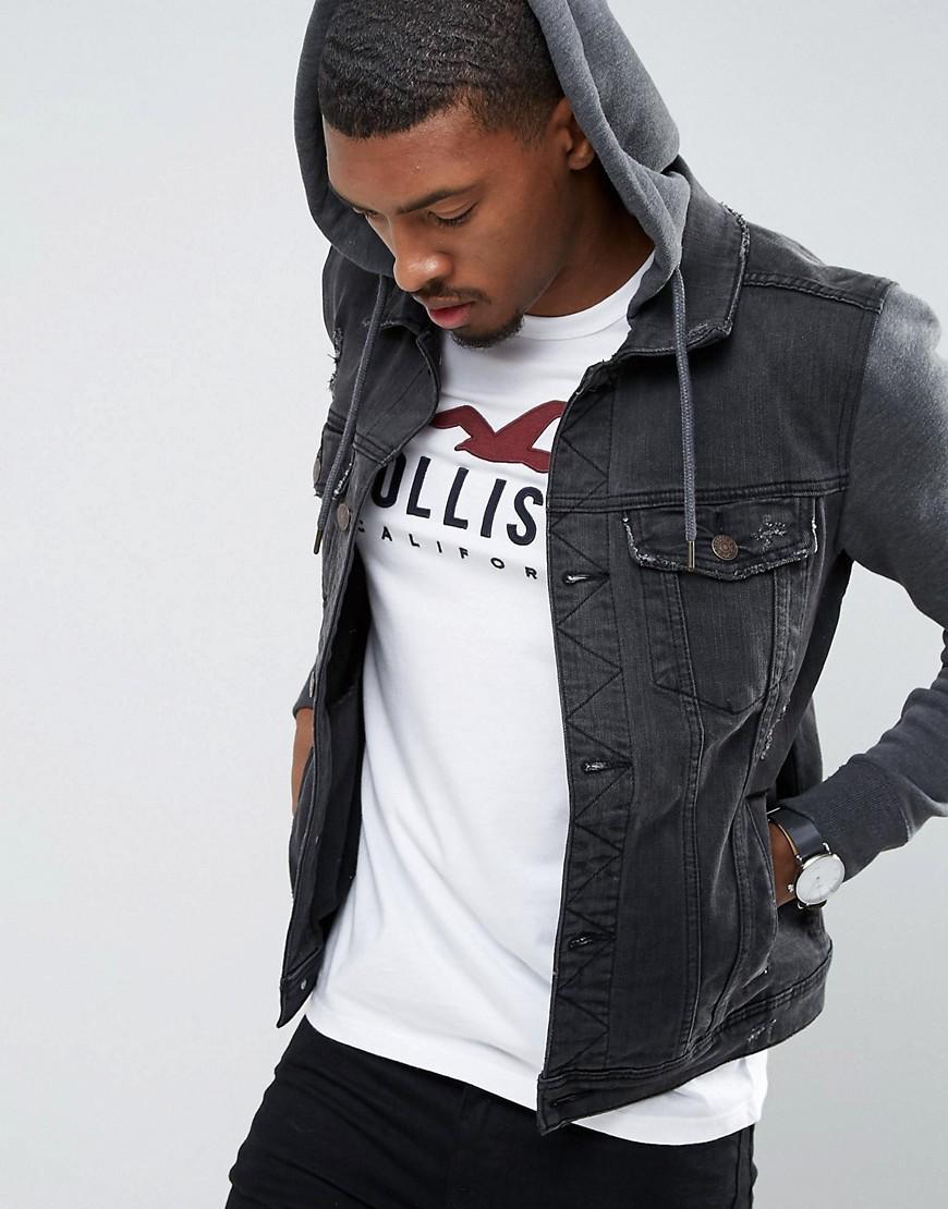 ec9c016f1 Hollister Holliser Denim Jacket With Jersey Sleeves And Hood in ...
