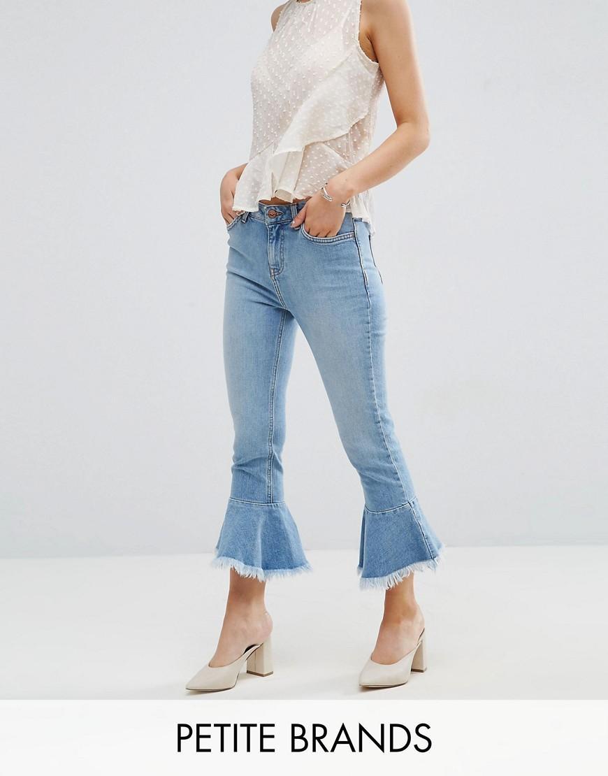 new look peplum kick flare jeans in blue lyst. Black Bedroom Furniture Sets. Home Design Ideas