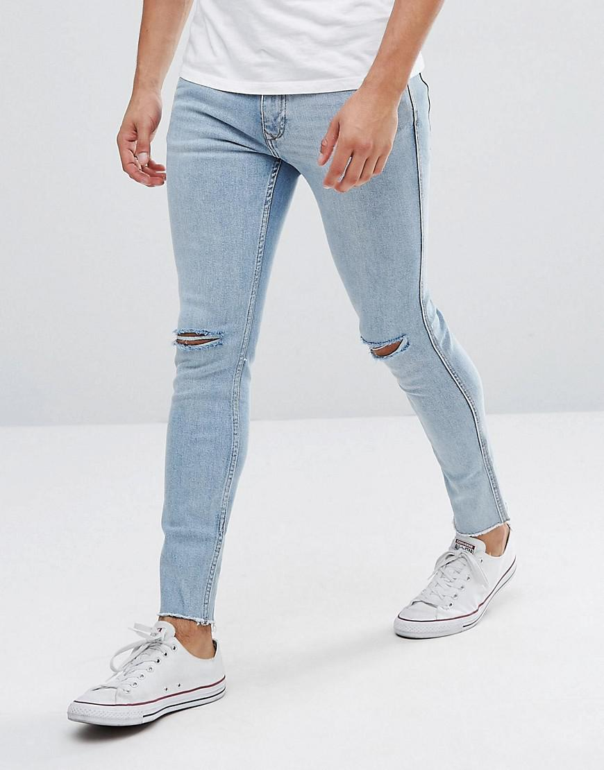 Man Skinny Jeans With Knee Rips in Mid Wash Blue - Mid blue Mango 5lVP17