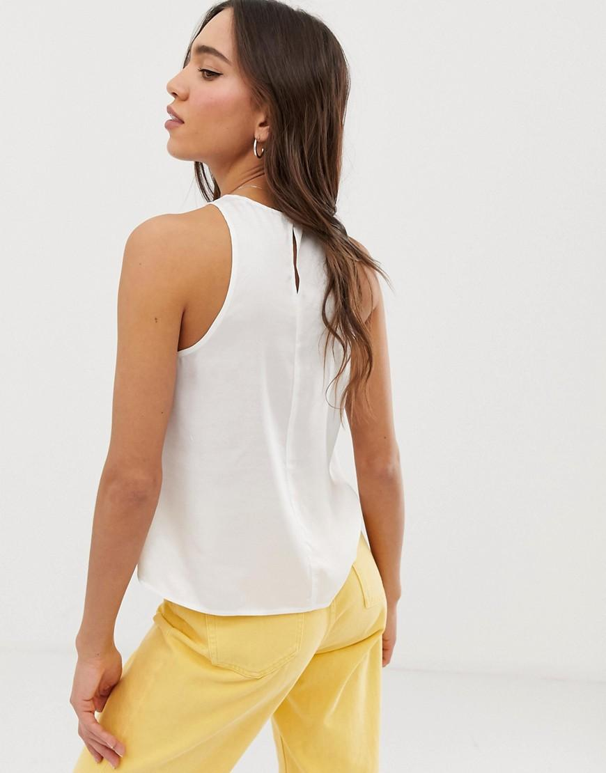 37effe7af374d Stradivarius Shell Top In White in White - Lyst
