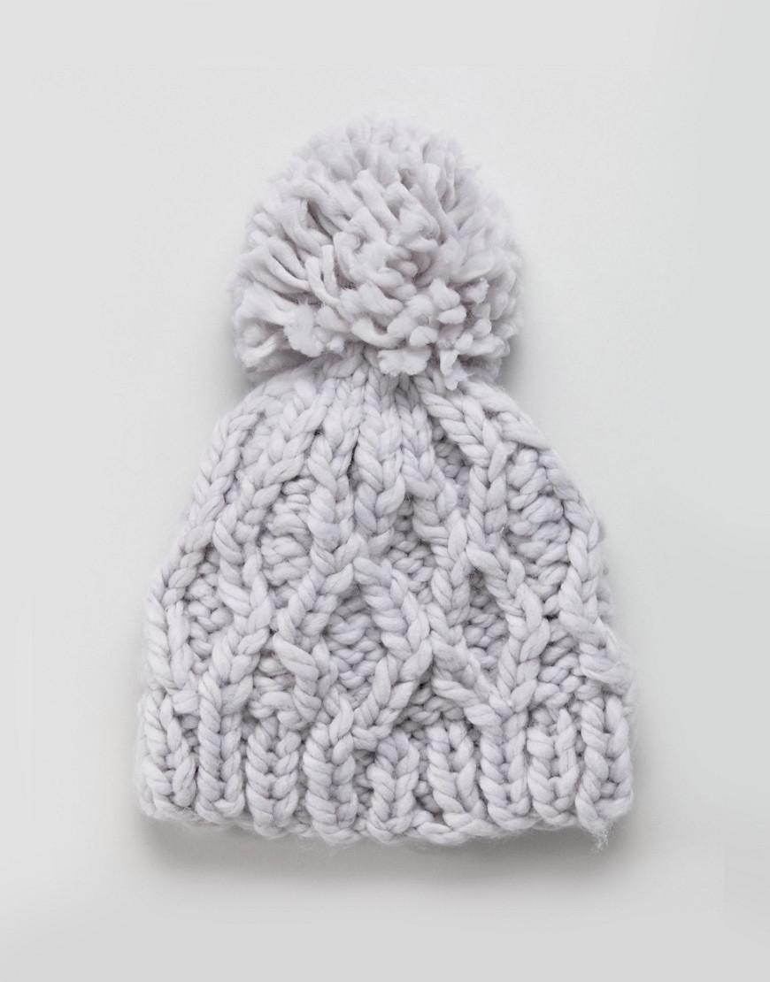 Pom Cable Knit Beanie Hollister a234329e8201