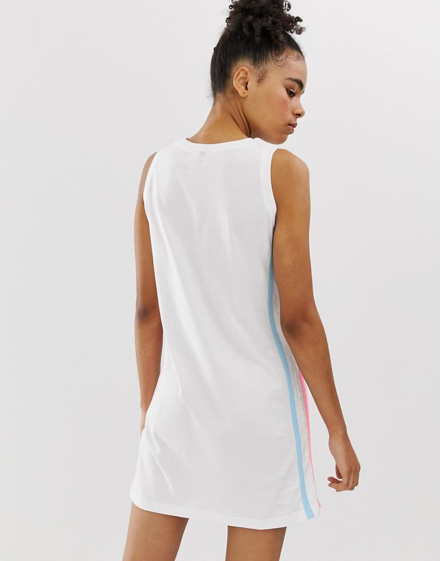 7a56c26a136 Lyst - Ellesse Relaxed Tank Dress With Front Logo In Pastel Color Block in  White