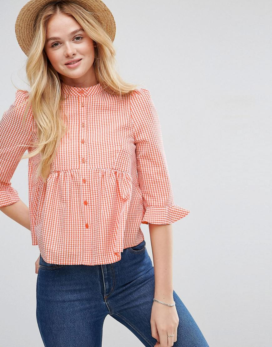 Cheap Sale For Nice Gingham Shirt with Pephem - Orange Asos Perfect Online Cheap Visa Payment Sale Marketable Buy Cheap Pay With Visa ZoW3wsHiUO