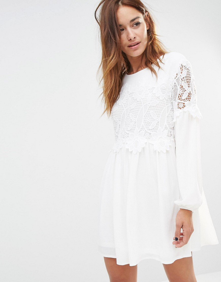 252197e182f1c Missguided Lace Detail Swing Dress - Ivory in White - Lyst