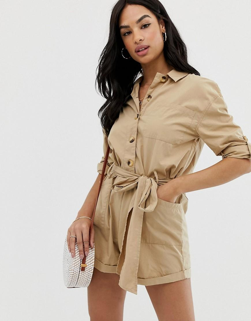 f5274b4c2d ASOS Boiler Playsuit With Button Front And Tie Waist in Natural - Lyst