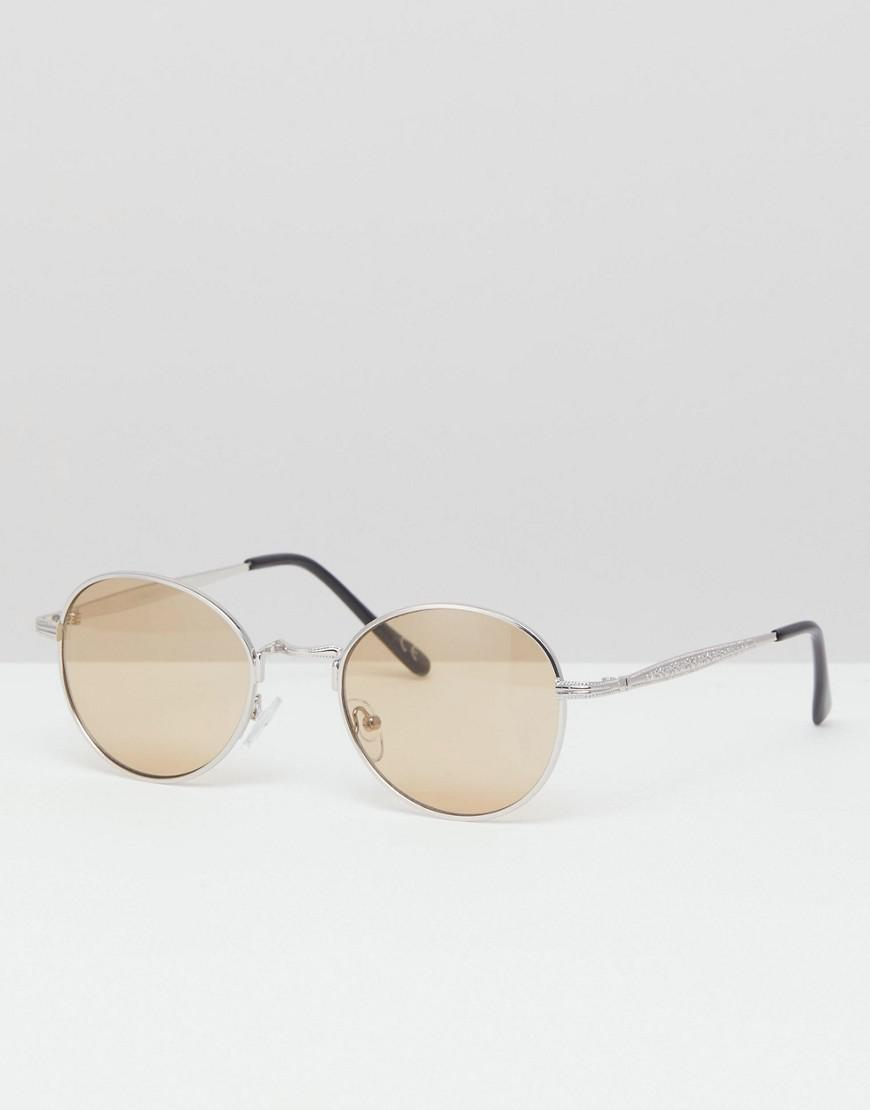 8c84b93de5f Lyst - ASOS Round Sunglasses In Silver Metal With Amber Lens in ...