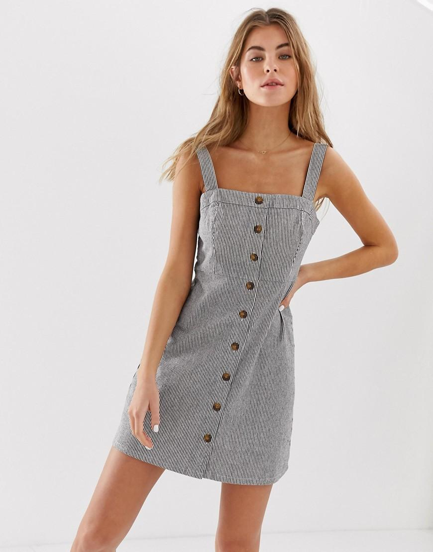 644ecd474b Hollister Pinstripe Button Down Dress in Gray - Lyst