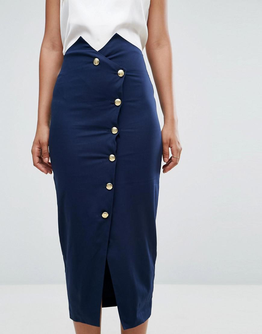 9141e462c03 ASOS Tailored High Waist Pencil Skirt With Military Button Detail in ...