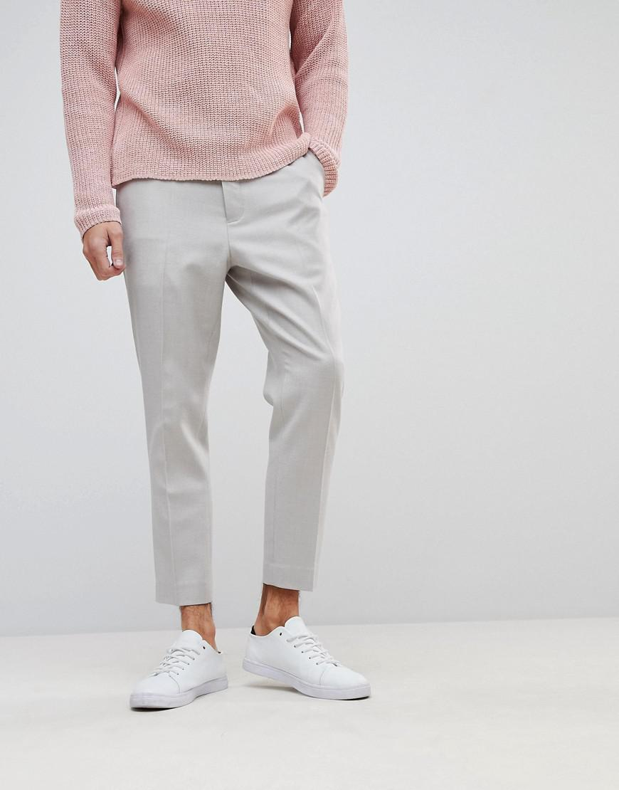Tapered Smart Trousers In Putty Cross Hatch Nepp - Putty Asos HOwy0fxgUG