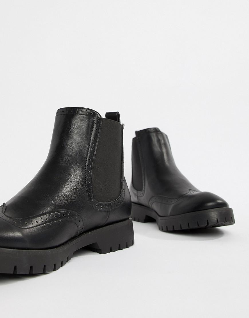f26cef77c93 Truffle Collection Chunky Brogue Chelsea Boot In Black in Black for ...
