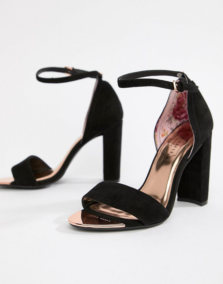 81fc35fba Ted Baker Black Suede Barely There Block Heeled Sandals in Black - Lyst