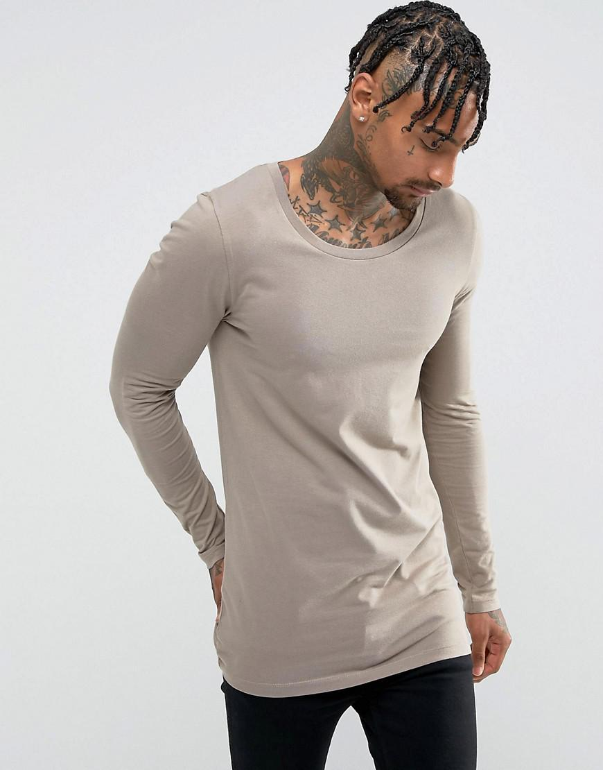 Asos muscle scoop neck long sleeve t shirt in brown in for Scoop neck long sleeve shirt