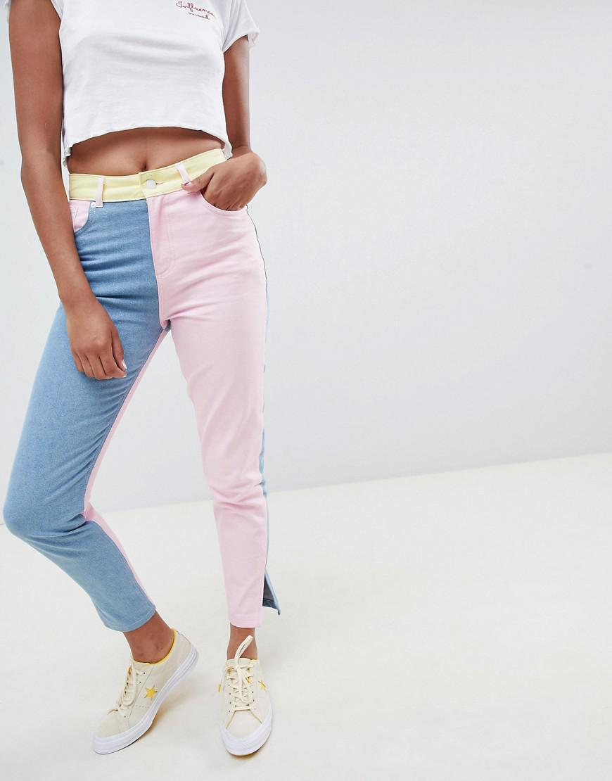 cca0c4b80 ASOS Hello Kitty X Colour Block Jeans With Embroidery Detail - Lyst