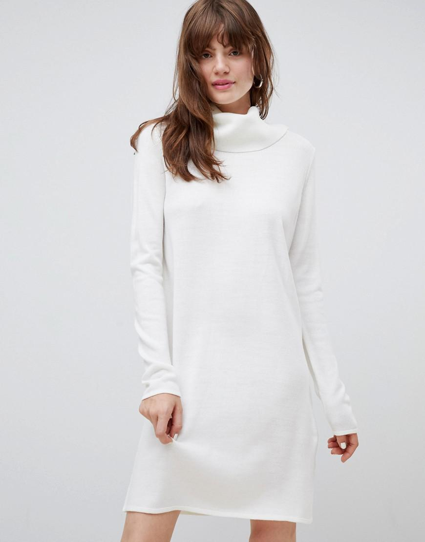 318858ebe097 ASOS Cowl Neck Knitted Mini Dress in White - Lyst