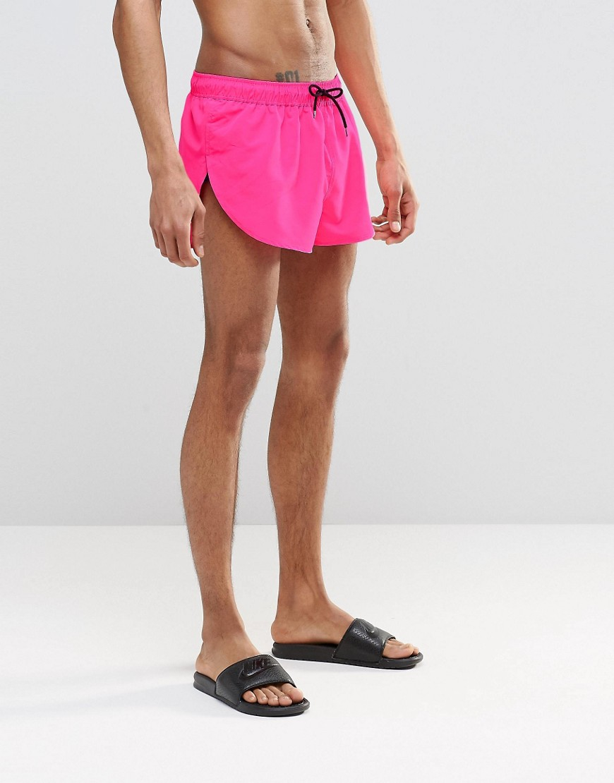 Asos Super Short Length Swim Shorts In Neon Pink With Side