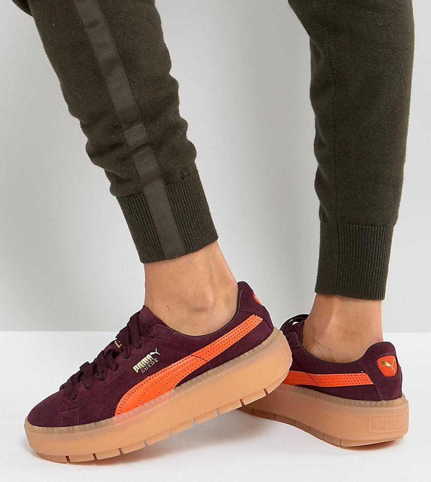 aa9595fdef0c PUMA Trace Platform Sneakers In Burgundy And Orange in Black - Lyst