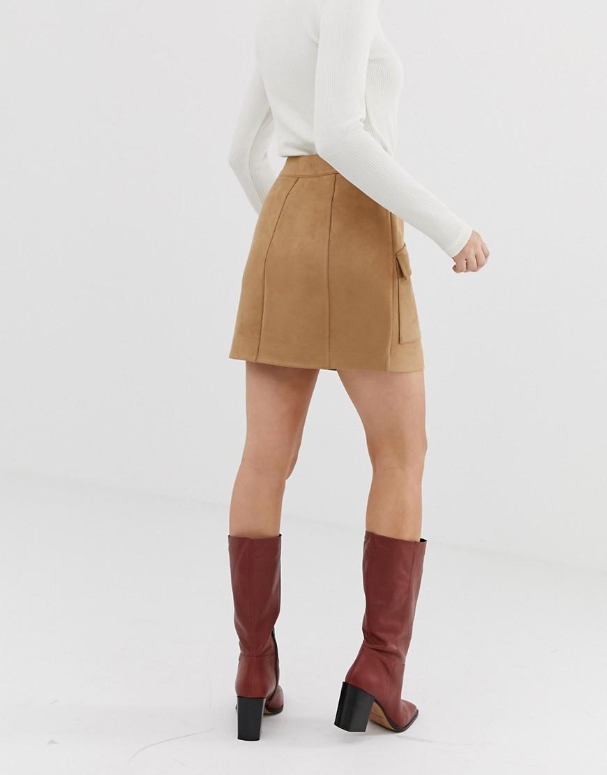 764dc6907 Stradivarius Faux Suede Button Front Mini Skirt In Beige in Natural - Lyst