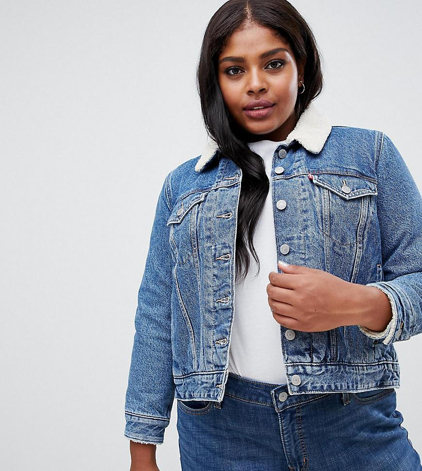 daadd7794a3 Levi s Levis Plus Trucker Jacket With Sherpa Collar in Blue - Lyst