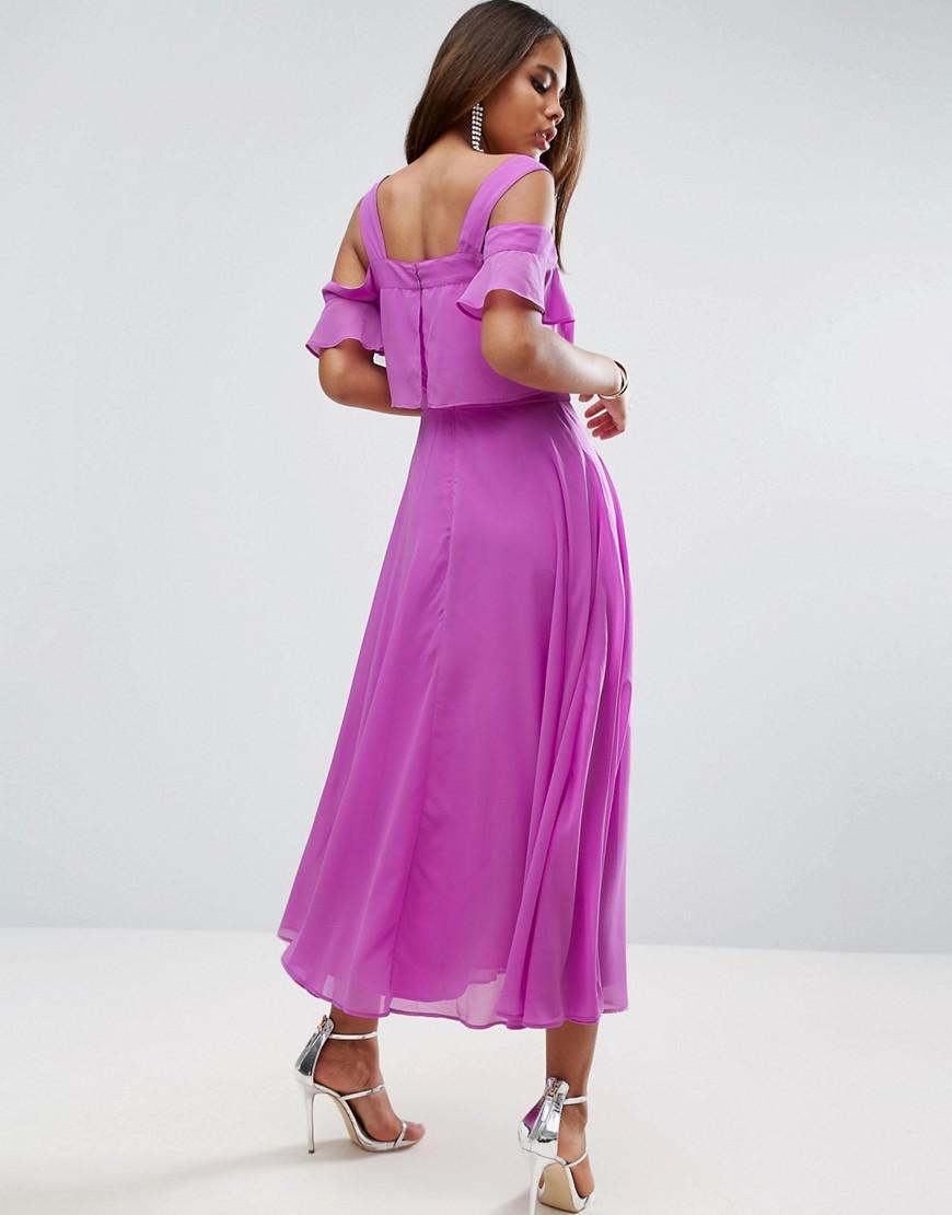 Lyst - Asos Cami Cold Shoulder Flutter Sleeve Midi Dress in Purple
