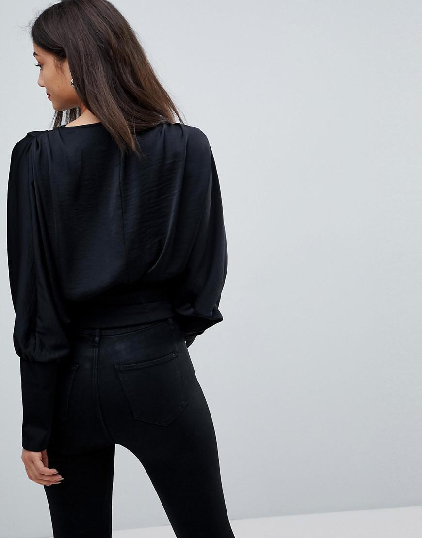e455ba3099b14 ASOS Asos Design Tall Satin Batwing Wrap Top in Black - Lyst