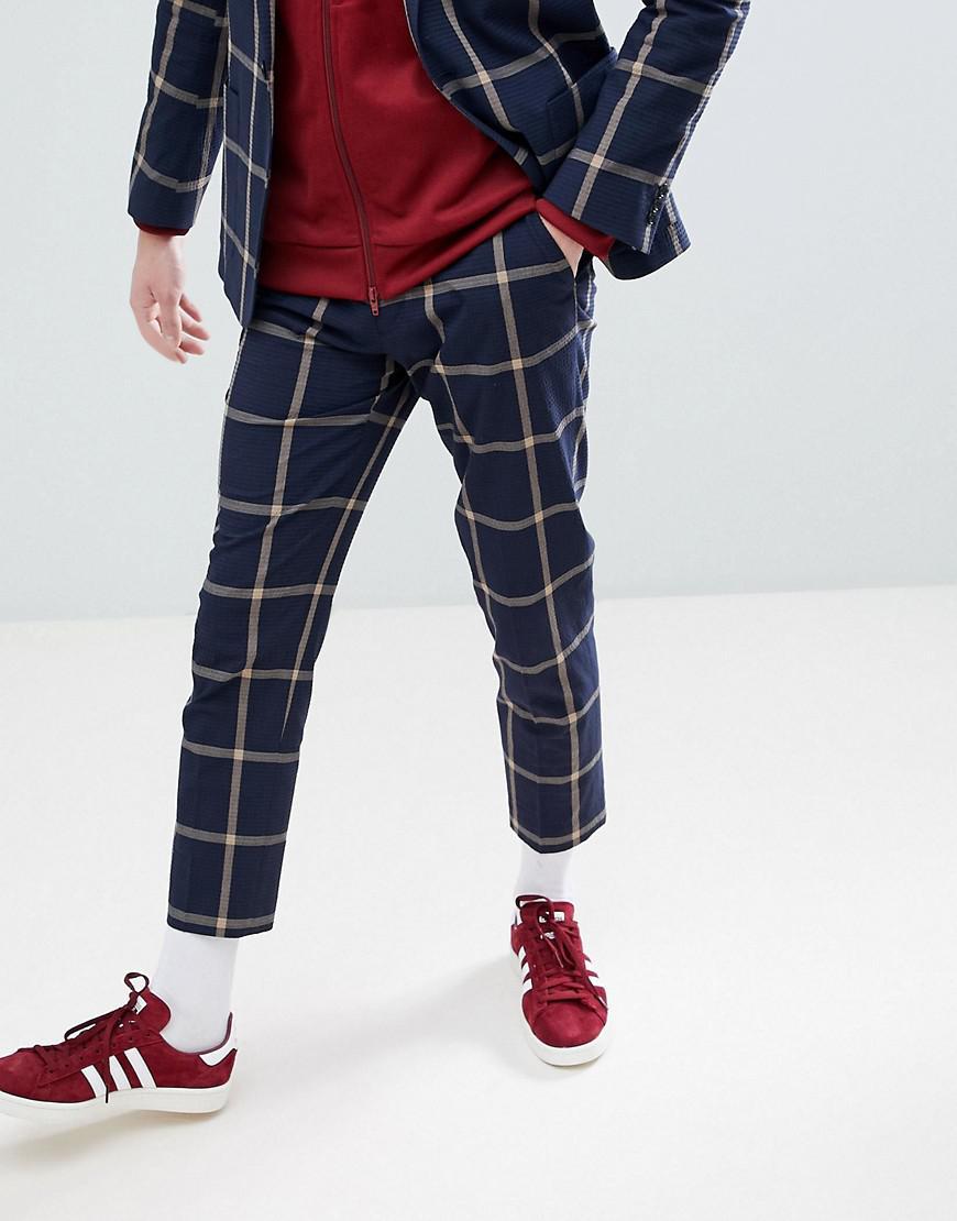 Lyst - Pantalon de costume court slim en crpon de coton gros ... 74ba4148d9e