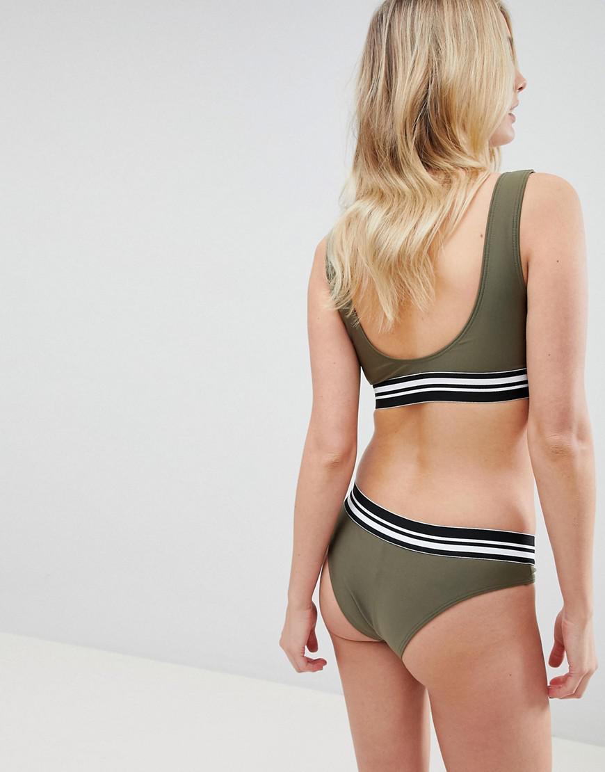 36a5fe15f5a17 Lyst - Wolf   Whistle Fuller Bust Zip Crop Bikini Top Dd-g in Green