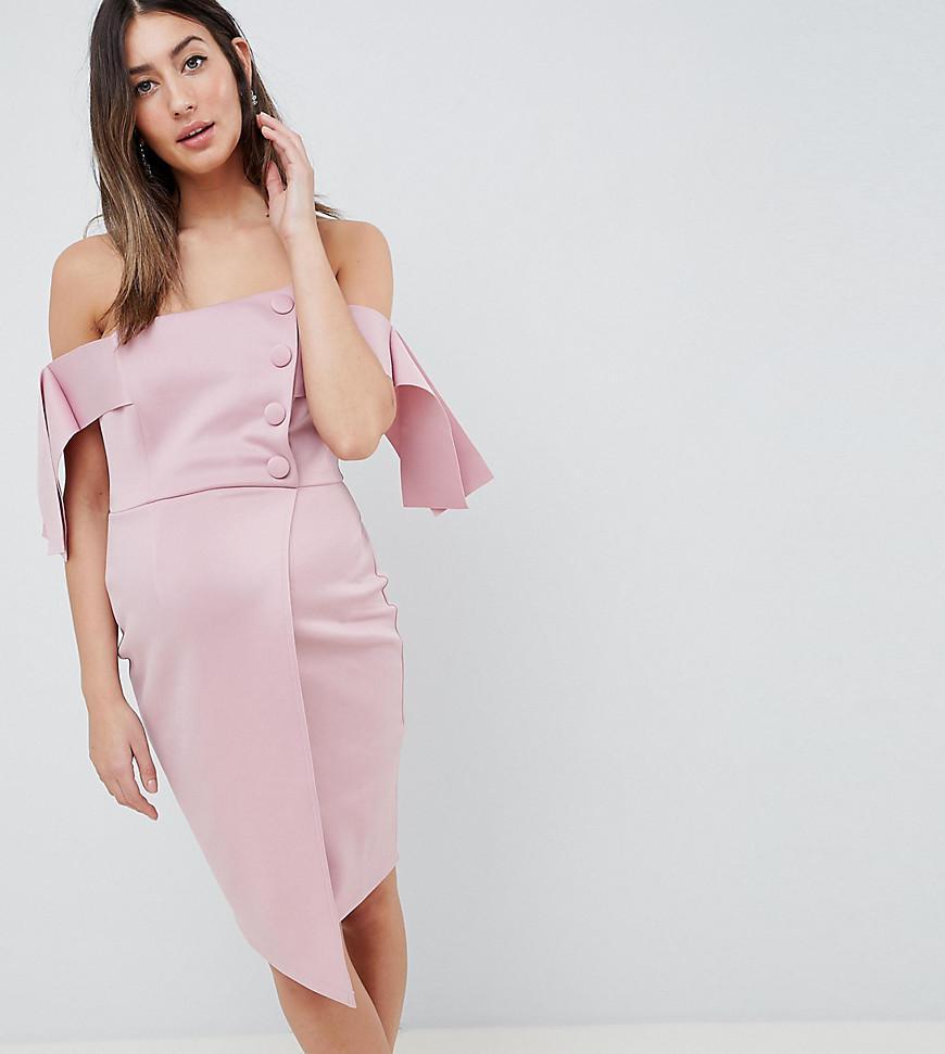 ASOS DESIGN bardot tie sleeve button wrap mini dress Outlet Manchester Great Sale Free Shipping Sale Big Sale Cheap Online yNN8h