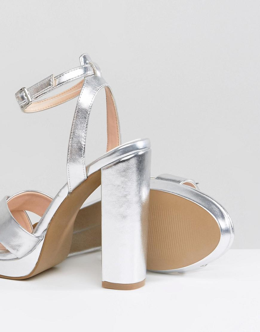 39e2b8cdb53e Lyst - Office Nickles Silver Platform Heeled Sandals in Metallic