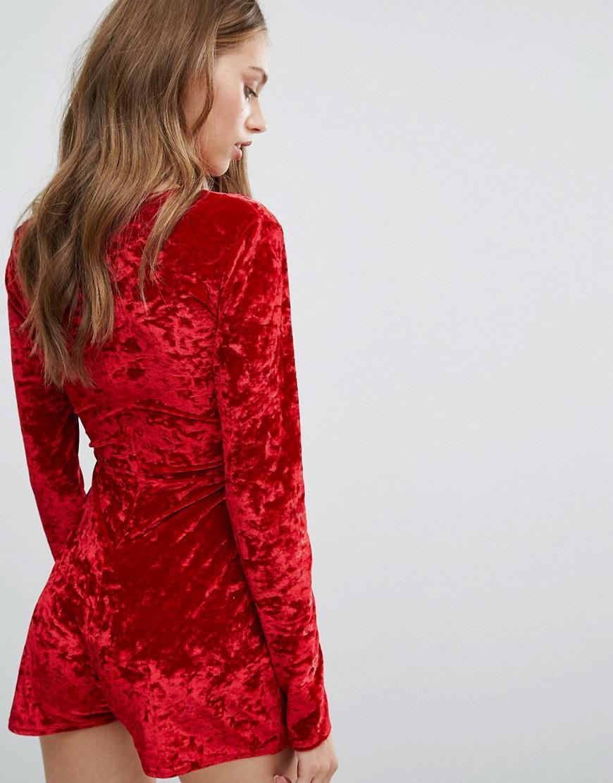aec29407c0 Lyst - Missguided Mesh Insert Crushed Velvet Playsuit in Red