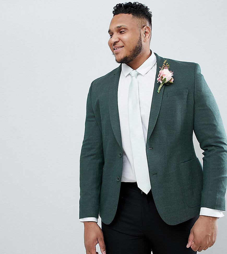 e14dc8ef04 Lyst - ASOS Plus Wedding Skinny Blazer In Green Wool Mix in Green ...