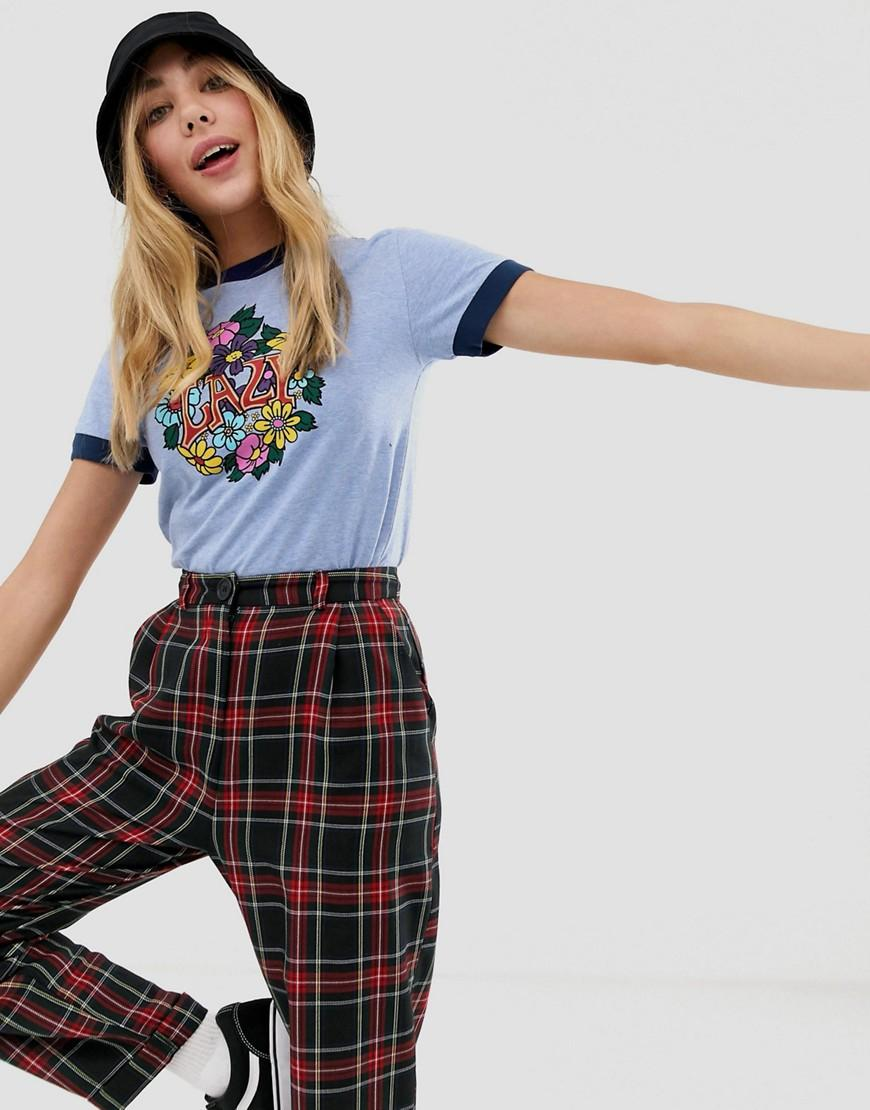 02283b9fdea Lazy Oaf Retro Ringer T-shirt With 60 s Lazy Print in Blue - Lyst