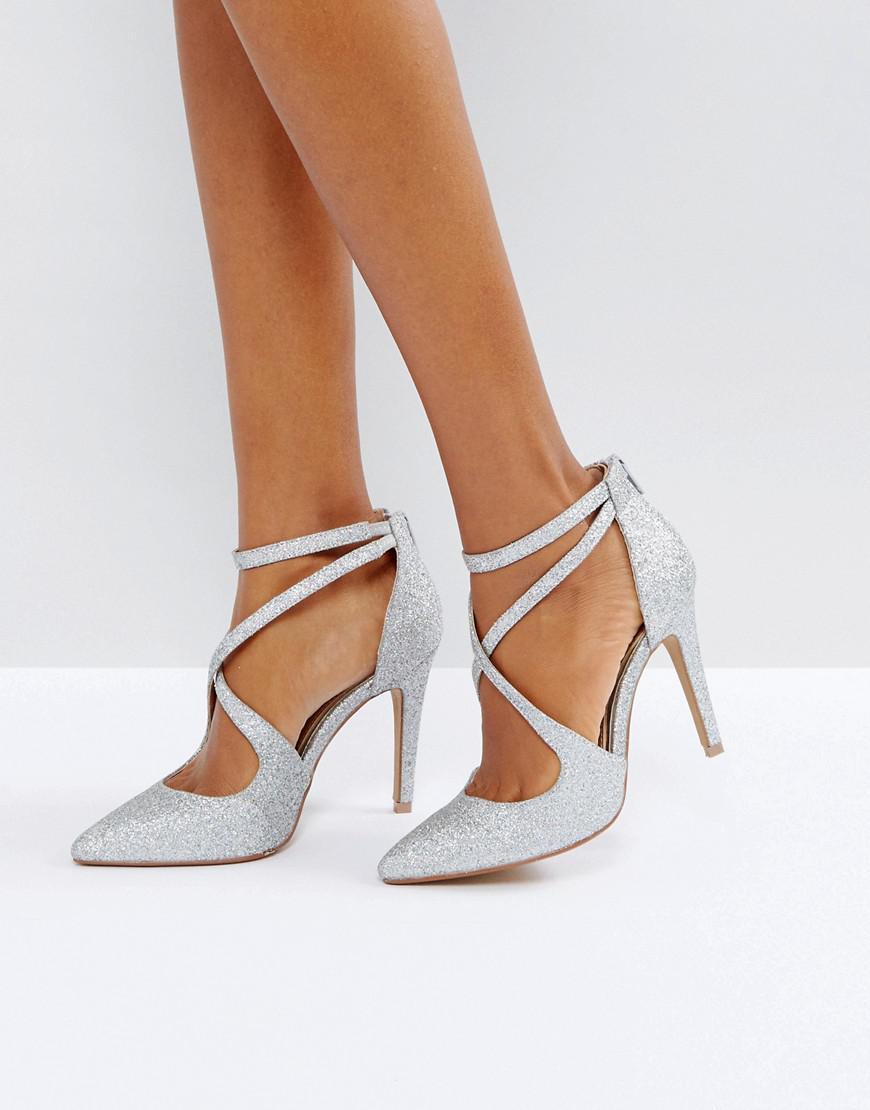Dune. Women's Metallic Head Over Heels Cassy Silver Heeled Shoes
